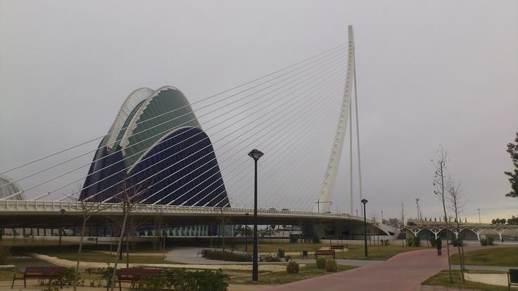 Foto del Ágora y del Puente, ambos del arquitecto Santiago Calatrava