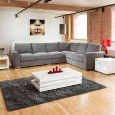 Extra Large L Shape Sofa Set Settee Corner Group 3.4x2.7m Grey L stock