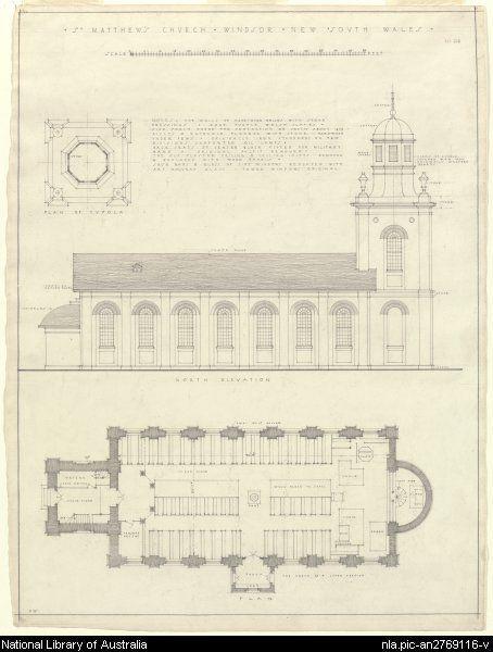 Plan - St. Matthew's Church, Windsor, NSW. Built 1817-1820 using convict labour.