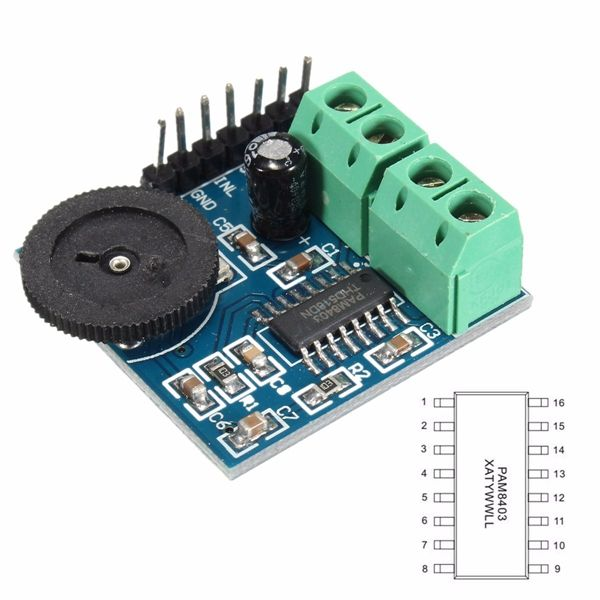 5V PAM8403 3W2 Dual Channel Audio Amplifier Module Class D Power Volume Adjustable  Features: PAM8403 audio amplifier chip 3W  2 stereo filter-free Class-D audio amplifier Two-way onboard 5.08 (mm) pitch 2P terminal respectively left and right channel output terminal Easy to install Working voltage: 5V Board size: 30 (mm) x30 (mm) Package includes: 1 x PAM8403 audio amplifier module  EUR 2.15  Meer informatie