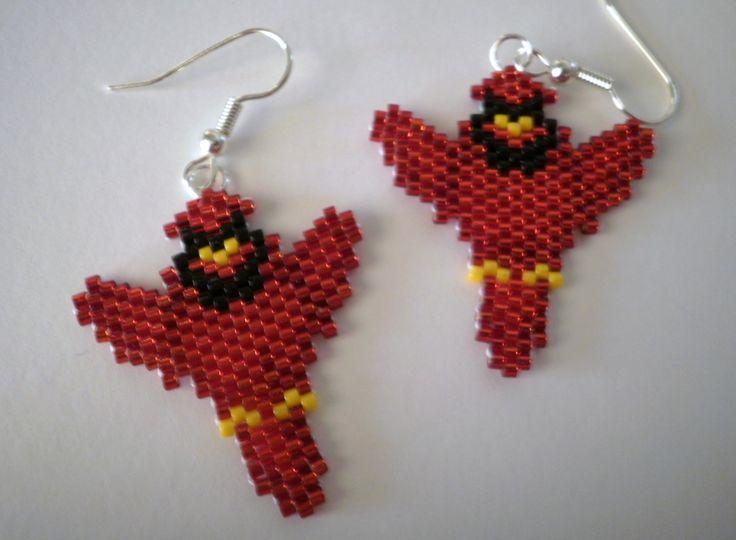 Cardinal in Flight Bird  Dangle Earrings Arizona Cardinals Football Mascot and St Louis Cardinals Baseball Mascot by JazminsJewels on Etsy