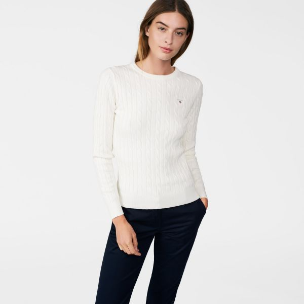 GANT - Stretch Cotton Cable Crew Sweater Eggshell for women | Offisiell nettside  Pris 1'300,-
