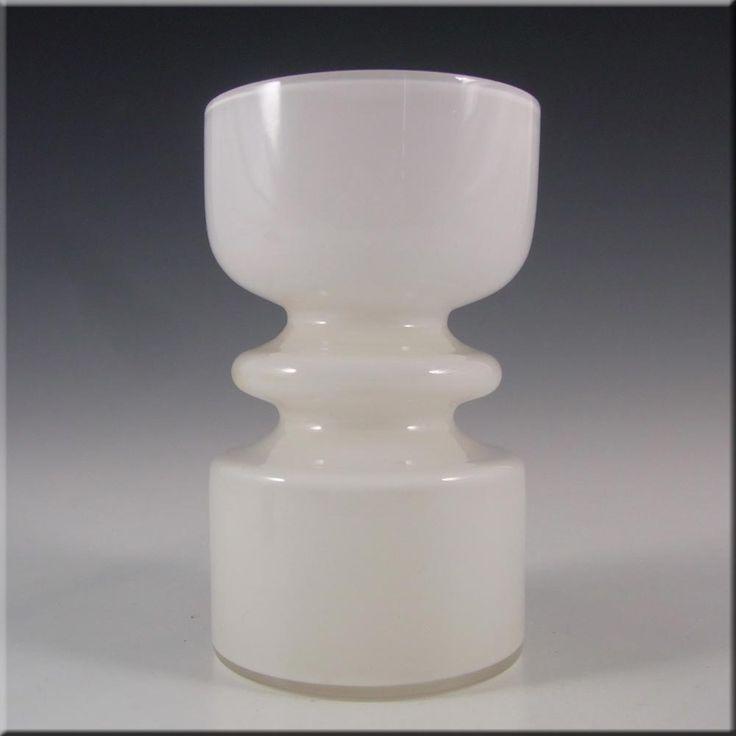 Lindshammar 1970's Swedish White Hooped Glass Vase - £80.00