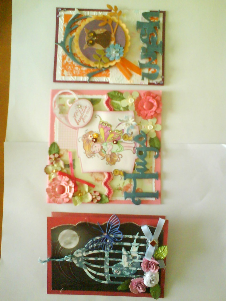 3 cards I made in one weekend.  I love constructing and building layers.  These feature upcycling materials such as packaging boxes-card, threads