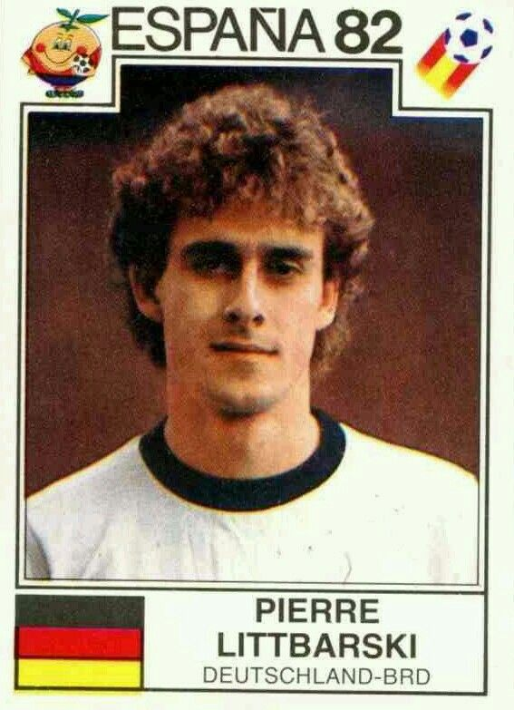 Pierre Litbarski of West Germany. 1982 World Cup Finals card.