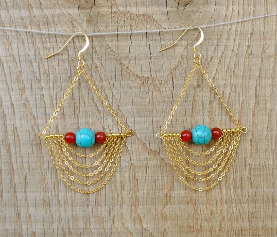 Dangle earrings Chain Long chandelier Earrings / Gypsy elegant bib earrings / gold Boho earrings / gypsy jewelry / bohemian jewelry