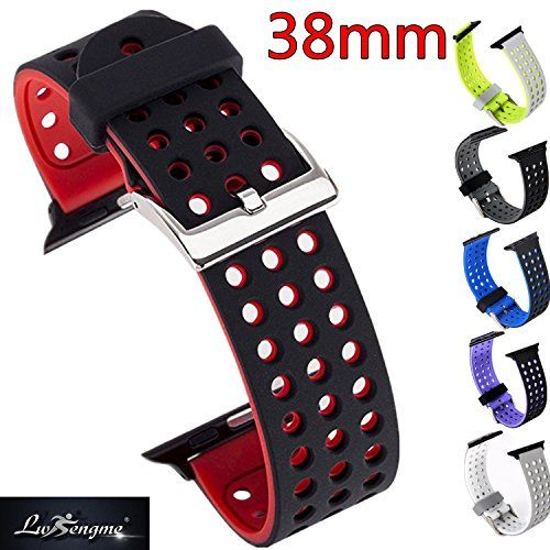 Lwsengme Silicone Sport Replacement Strap with Adjustable Buckle and Quick Release for Apple iWatch Series 2 Apple Watch Series 1 Nike 38mm  BlackRed -- Continue to the product at the image link.