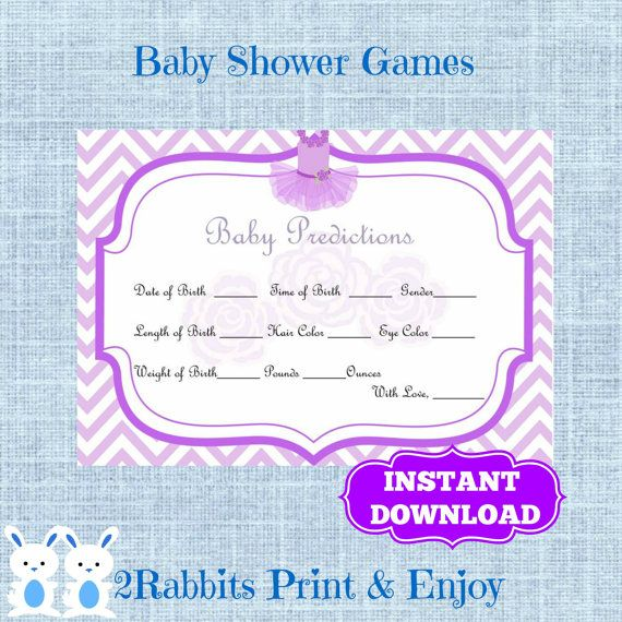 Ballerina Tutu Ballet Baby #Predictions Cards Baby Shower Forecast Cards - Guess Baby Birthday- Instant Download - Purple Chevron and Tutu #tutubabyshower #ballerinababyshower #babyshowergames