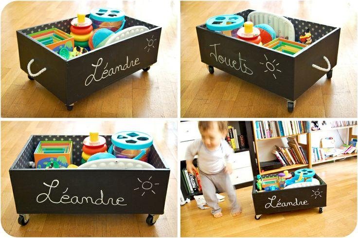 Caisse de vin recyclée en caisse à jouets à roulettes