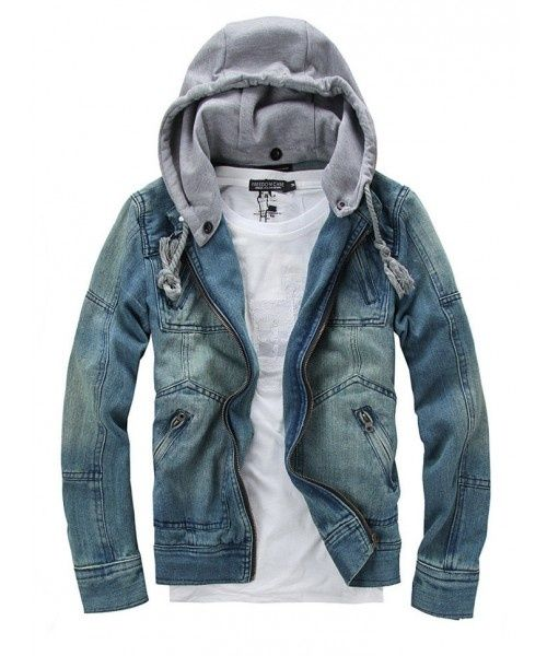 Men Blue Zipper Jean Jacket / $35.89 - I want this for girls. Like, really.