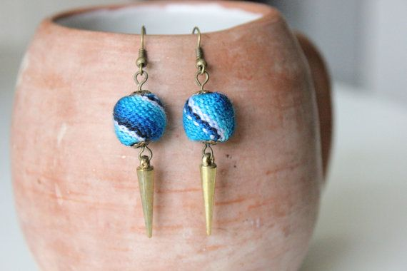 Peruvian Textile Blue Dangle Earrings by KusiPeru on Etsy, $10.00
