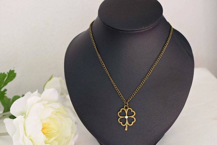 Bronze Clover Necklace - Irish Jewelry - Four Leaf Clover Charm Necklace - Good Luck Jewelry - Shamrock Necklace - Nature Jewelry by SkadiJewelry on Etsy