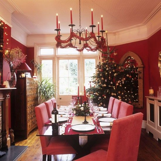 Dining Room, Elegant Concept Dining Room Christmas Decorating Ideas With Red Chandelier And Christmas Tree Also Red Christmas Nuance Room: Christmas Dining Room Decorating Ideas