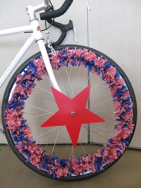 Weave streamers or garland in and out of the spokes for a simple, but colorful patriotic bike decor.