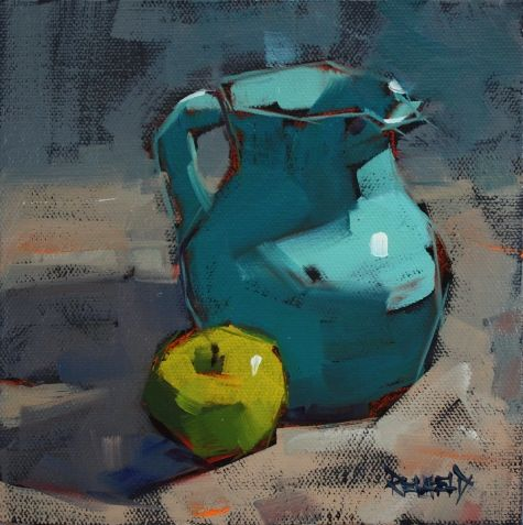 Turquoise Pitcher and a Green Apple make for a great color choice in this painting by artist Cathleen Rehfeld.