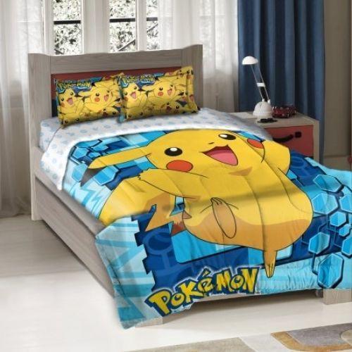 Pokemon Big Pikachu Twin Full Bedding Comforter Set Bedroom Kids Home Decor New | eBay