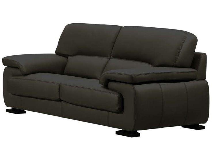 Canapé fixe 2 places BALSAMO coloris noir prix promo canapé cuir Conforama 900.00 € au lieu de 1 280 € TTC.