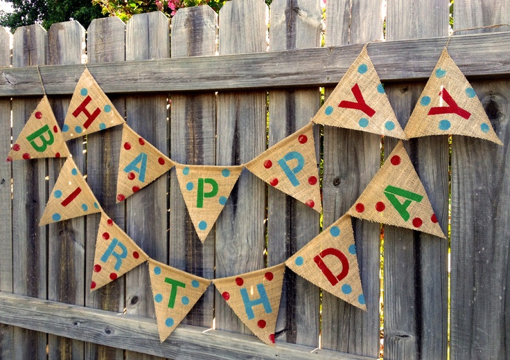 The Happy Birthday Pennant Burlap Banner Red, Blue, Green: Boy Party Decor, Photo Prop, Mantle Decor, Wall Decor (can customize colors). $40.00, via Etsy.