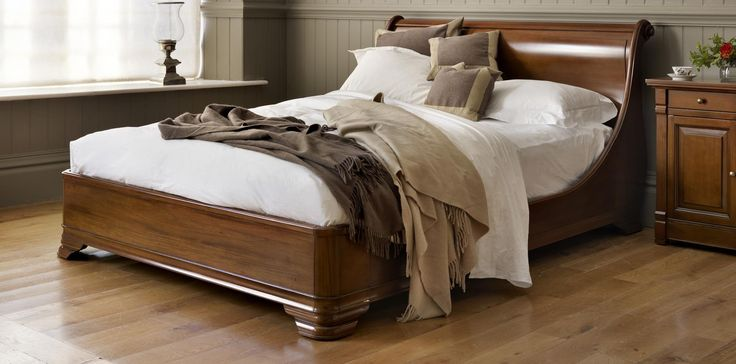 Luxury Manoir Socle Wooden Sleigh Bed | AND SO TO BED
