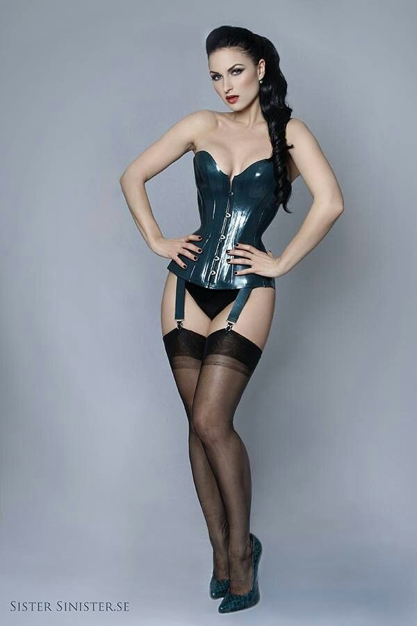 Sister Sinister black leather corset nylons