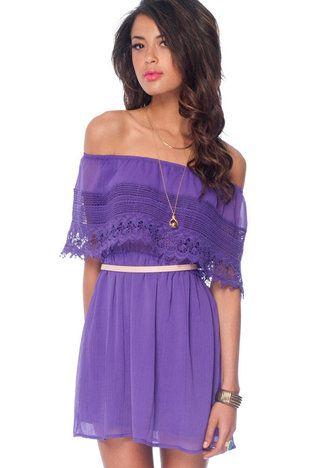 Off Shoulder Dress in Purple