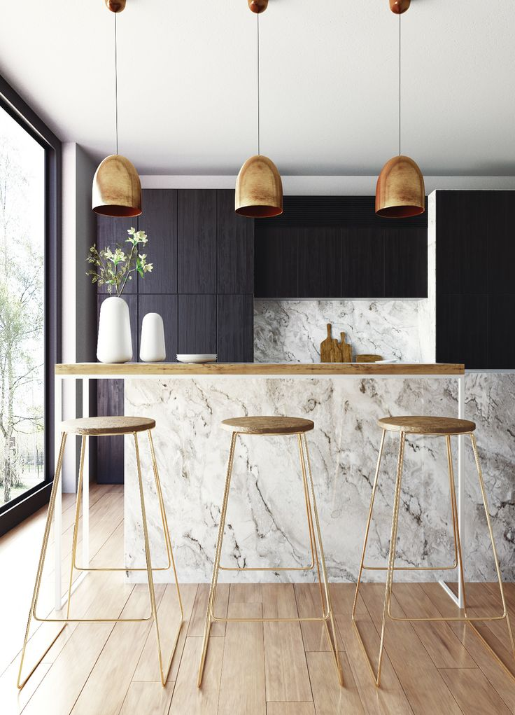Kitchen inspiration ideas, marble isle, pendant lights ideas, modern kitchen, furniture