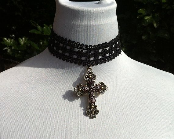 Black lace choker with large brass ornate by CindysAccessories, $25.00