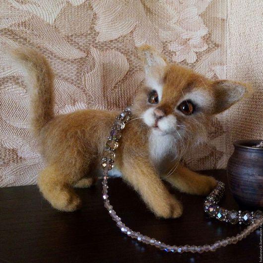 Игрушки животные, ручной работы. Ярмарка Мастеров - ручная работа. Купить Рыжий котенок Мартин. Игрушка из шерсти.. Handmade. Оранжевый