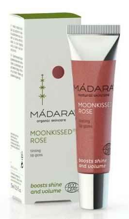 MADARA Moonkissed Rose. Bardzo błyszczący naturalny błyszczyk z dodającymi objętości ustom lipidami roślinnymi i nadbałtycką dziką różą. Olśniewa i uwodzi.