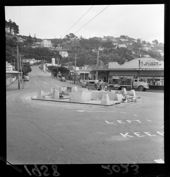 Old tram shelter at Seatoun, Wellington, being demolished