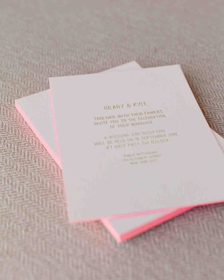 how to make film canister wedding invitations%0A Minimalist Wedding Invitations Invites designed by the bride featured gold  foil lettering and hot pink edging  Printed by Publicide and introduced the