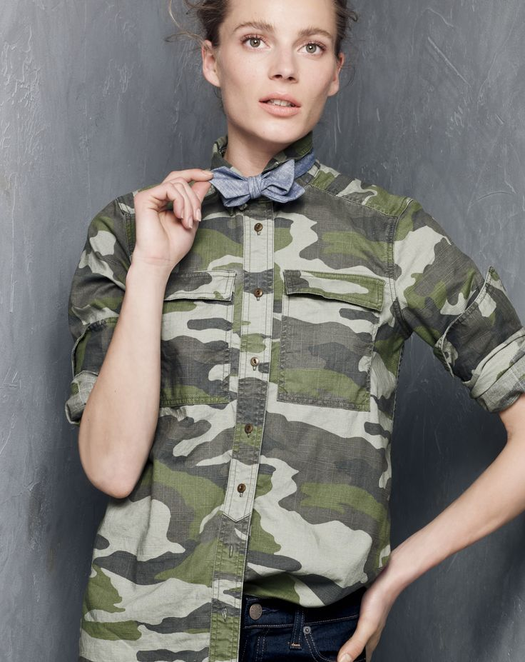 SEP '14 Style Guide: J.Crew women's camo shirt, and toothpick Cone Denim®  jean in classic rinse.