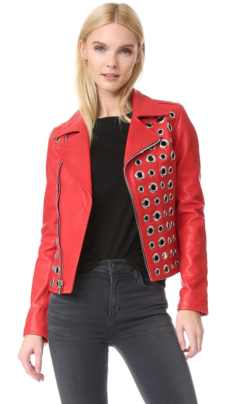 ¡Cómpralo ya!. Rta Cleo Moto Jacket - Lipstick. Polished eyelets cover this colorful RtA moto jacket, bringing an avant garde update to the classic silhouette. Notched lapels and off center zip placket. Zip cuffs. Lined. Semi sheer. Fabric: Leather. Shell: 100% cowhide. Lining: 67% cotton/30% polyester/3% spandex. Leather clean. Imported, China. Measurements Length: 21.25in / 54cm, from shoulder Measurements from size S. Available sizes: XXS , chaquetadecuero, polipiel, biker, ante…