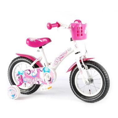 Kanzone Giggles meisjesfiets - 12 inch - wit/roze  Leer fietsen op deze schitterende wit met roze meisjesfiets. De Kanzone Giggles heeft afneembare zijwieltjes en het stuur en zadel zijn in hoogte verstelbaar. Neem bovendien al je spulletjes mee in het handige mandje!  EUR 67.99  Meer informatie