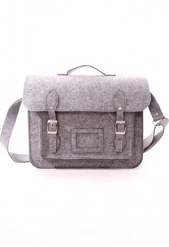 Felt Old School Satchel in Grey