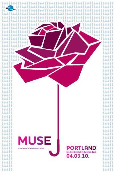 Muse gig poster. Rose Garden Arena Portland.