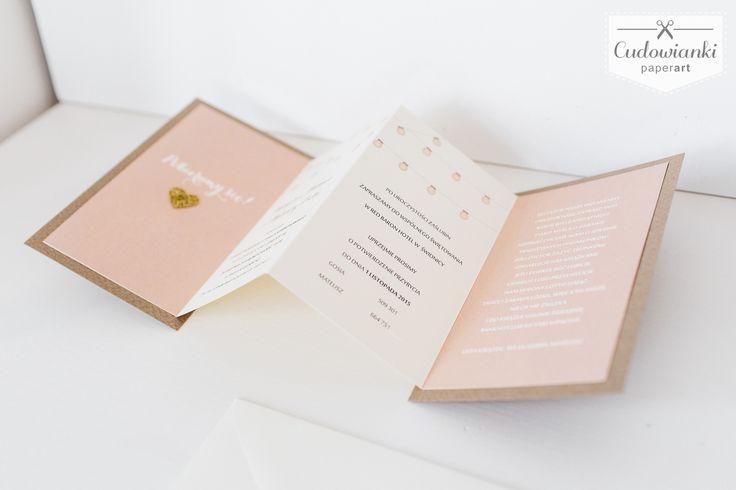"""""""GIMME ALL YOUR LOVE"""" Fresh, natural, hand made, pastel, harmonica form, folding, with lanters wedding invitation by Cudowianki / Zaproszenie ślubne w formie harmonijki z motywem lampionów. Wykonane z wysokiej jakości papieru ekologicznego."""