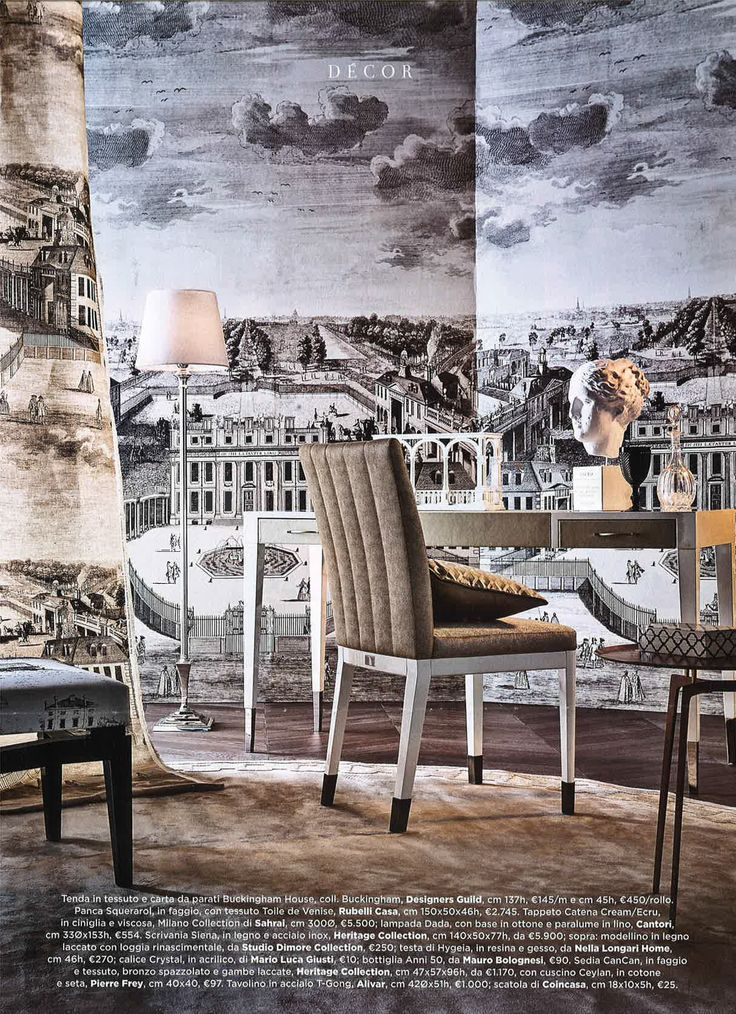 Designers Guild Royal Collection, Buckingham House wallpaper panel, as seen in Marie Claire Maison, Italy