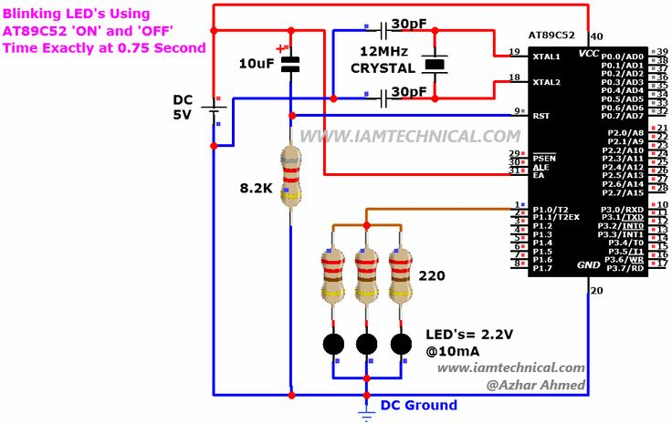 Blinking LED Assembly Language Program Exactly 0.75 Second 'ON' and 'OFF' Using AT89C52 Microcontroller