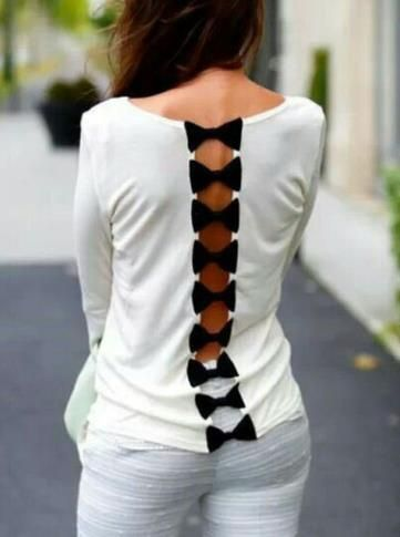 CUTE FASHION BOW HOLLOW OUT HOT TOP
