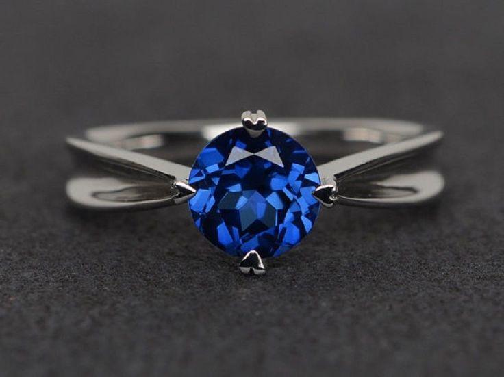 1.65 ct Blue Tanzanite Gemstone 14 k White Gold Women Wedding Ring  #GoldJewellery17 #Solitaire