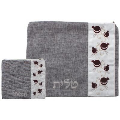 Linen Talit- Tefilin Set 36*29 Cm, Gray With Embroidery- Pomegranate