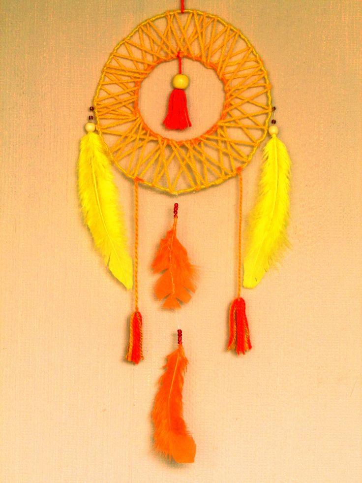 #Atrapasueños #Plumas #Naranjo #Amarillo #SOL #Creaciones