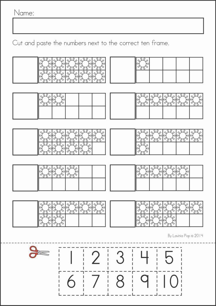 Kindergarten SUMMER Review Math & Literacy Worksheets & Activities. 104 pages. A page from the unit: Summer ten frames cut and paste
