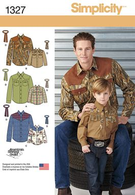 Simplicity Creative Group - Boys' and Men's Western Shirt and Tie #1327