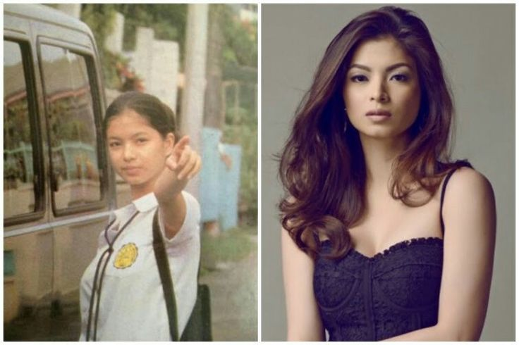 Angel Locsin As you can see in the picture on the left, Angel Locsin didn't always look as glamorous as she does now. But you can definitely sense her confidence even in that picture from her school years, she was destined for success.