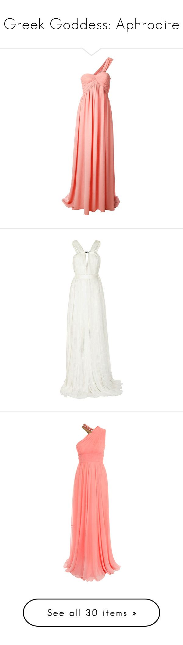 """Greek Goddess: Aphrodite"" by storycosmicjasmine ❤ liked on Polyvore featuring dresses, gowns, long dress, red gown, one shoulder evening gowns, red evening gowns, coral dresses, red ball gown, vestidos and long dresses"