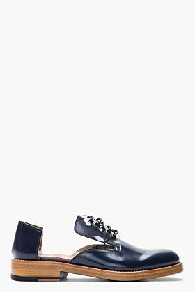 Marc Jacobs Navy Transparent-paneled Patent Leather Reveal Derbys for men | SSENSE
