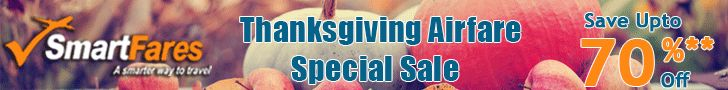 """Best Selling ThanksGiving Day Airfare Sale! Get Flat $15 Off with Coupon Code """"THANKS15"""". Hurry."""