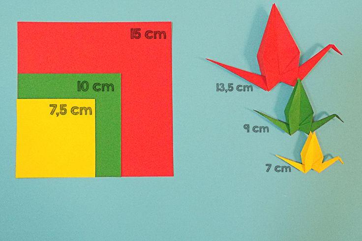 Grullas de origami tamaños| Me compre un buda | Origami cranes sizes